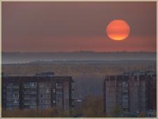 Фотографии закатов. Большое Солнце на закате