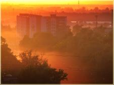 Фотографии закатов. Туман и Солнце. Желтый туман