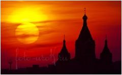 Огненный закат и собор Александра Невского