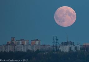 Восход Луны. Суперлуние. Фото огромной Луны