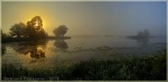Восход солнца. Туман над озером. Панорама