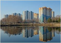 Утро в городе. Нижний Новгород. Микрорайон Водный мир